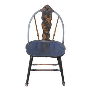 Antique Black Ebonized Hand Painted French Art Nouveau Chair