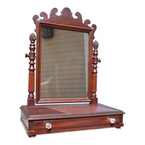 Vintage Chippendale Style Dresser Top Shaving Mirror Stand Vanity Jewelry Box
