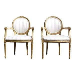 Antique Pair French Louis XVI style Rococo Gold Gilt Accent Arm Chairs