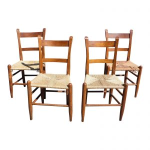 Antique Primitive Rustic Thumb Back Slat Dining Chairs Rope Seats - Set of 4