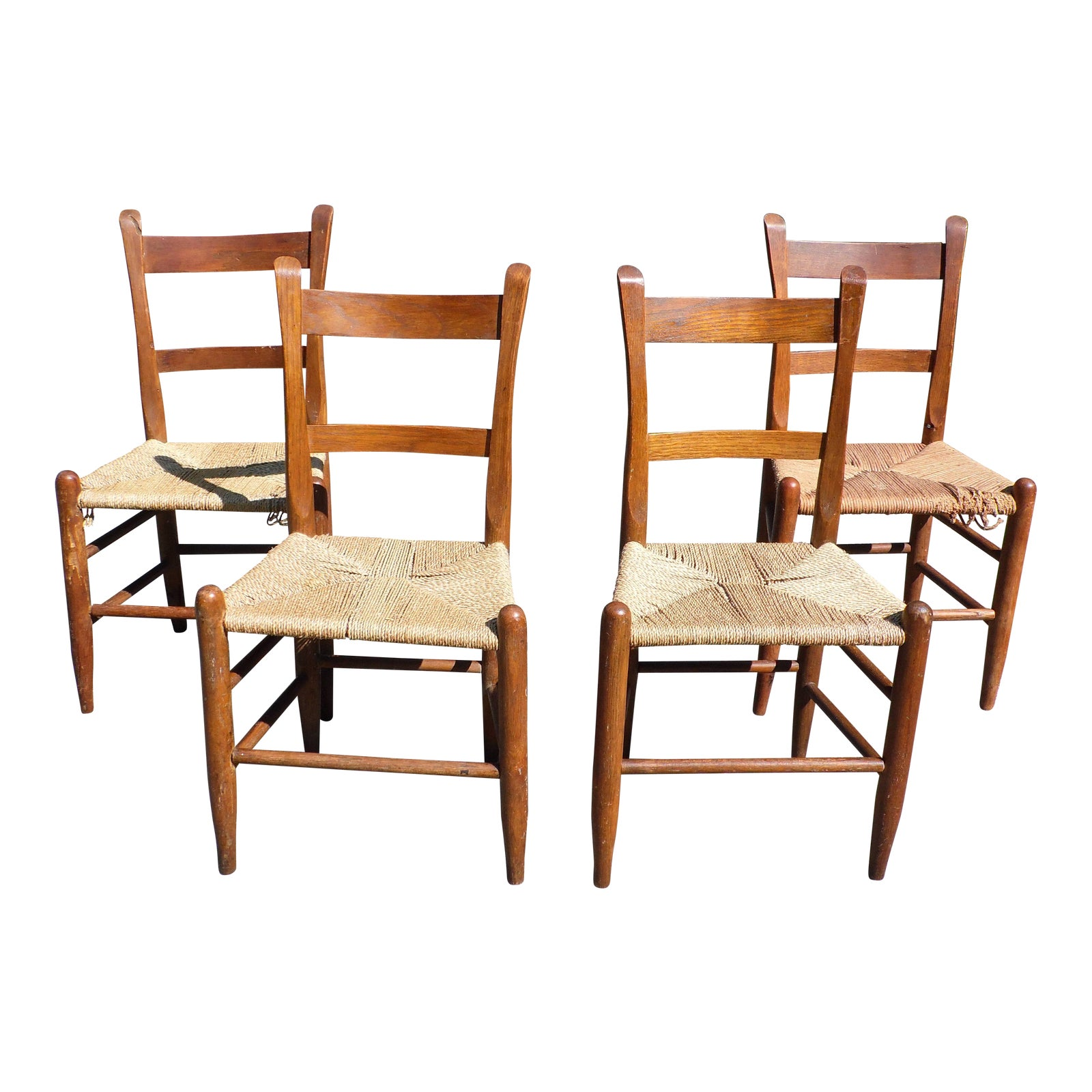 Superb Antique Primitive Rustic Thumb Back Slat Dining Chairs Rope Seats Set Of 4 Theyellowbook Wood Chair Design Ideas Theyellowbookinfo