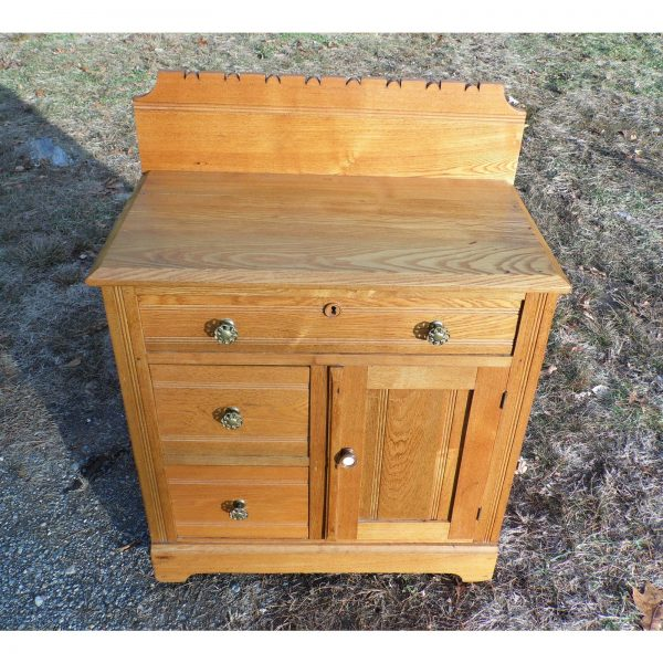 Antique Victorian Eastlake Oak Small Chest Commode Nightstand Washstand Cabinet