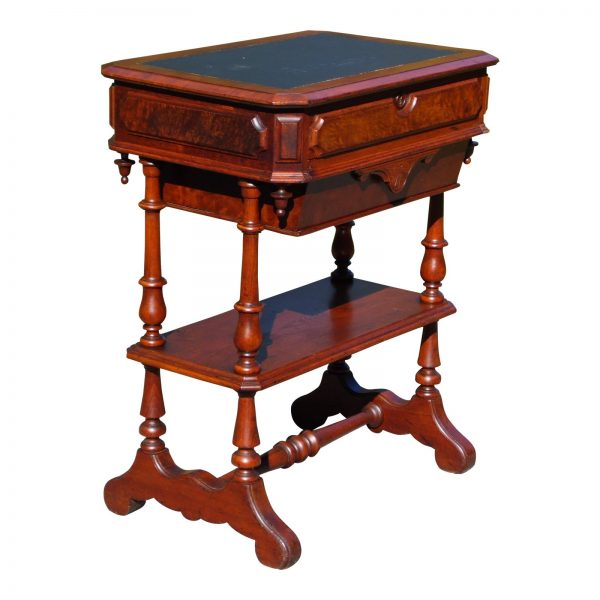 Antique Walnut Victorian Sewing Work Table Leather Top Library Entry Table