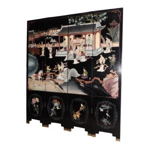 Coromandel Oriental Dressing Screen Ebonized Chinoiserie Folding Room Divider