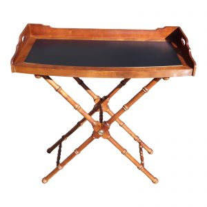 Lane Bow Front Butler Serving Tray Table & Faux Bamboo X Base Stand