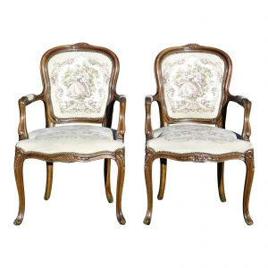 Pair Chateau d'Ax French Provincial Tapestry Fauteuil Bergere Arm Chairs Italy