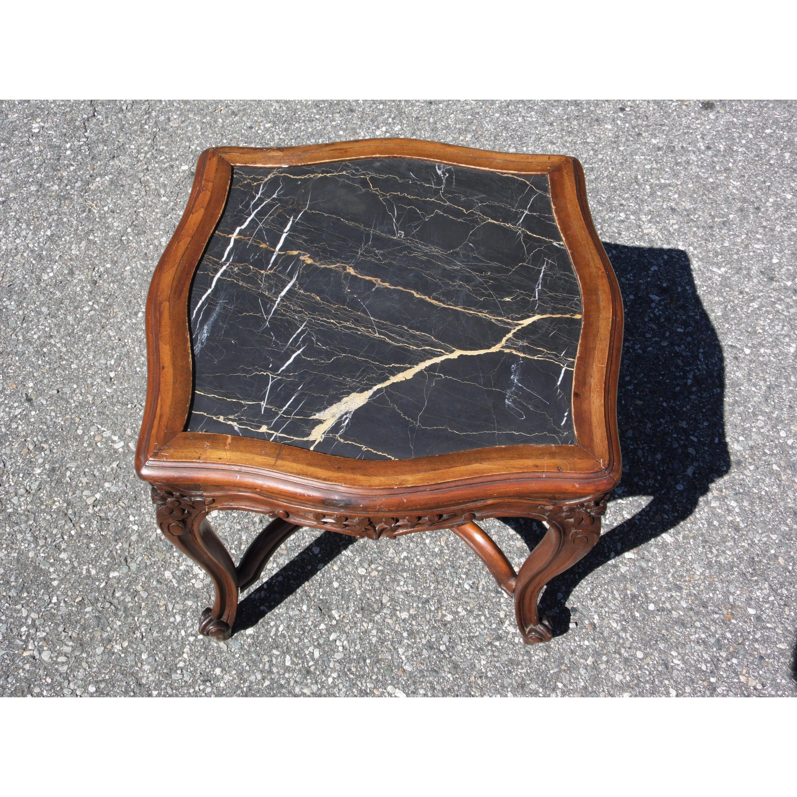 Enjoyable Vintage Antique Victorian Black Marble Top Walnut Serpentine Occasional Table Theyellowbook Wood Chair Design Ideas Theyellowbookinfo