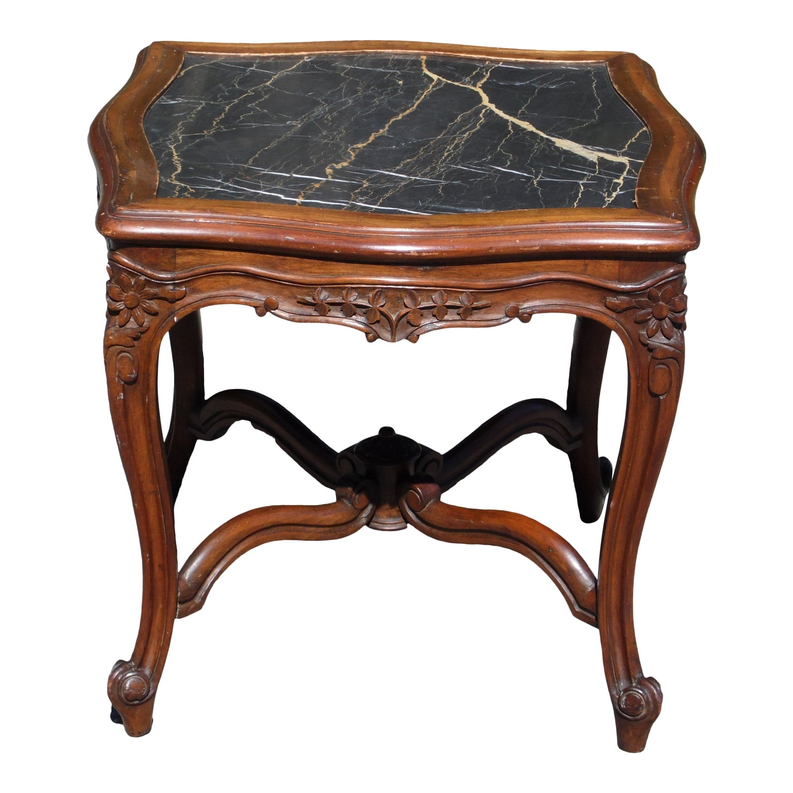 Vintage Antique Victorian Black Marble Top Walnut Serpentine Occasional Table
