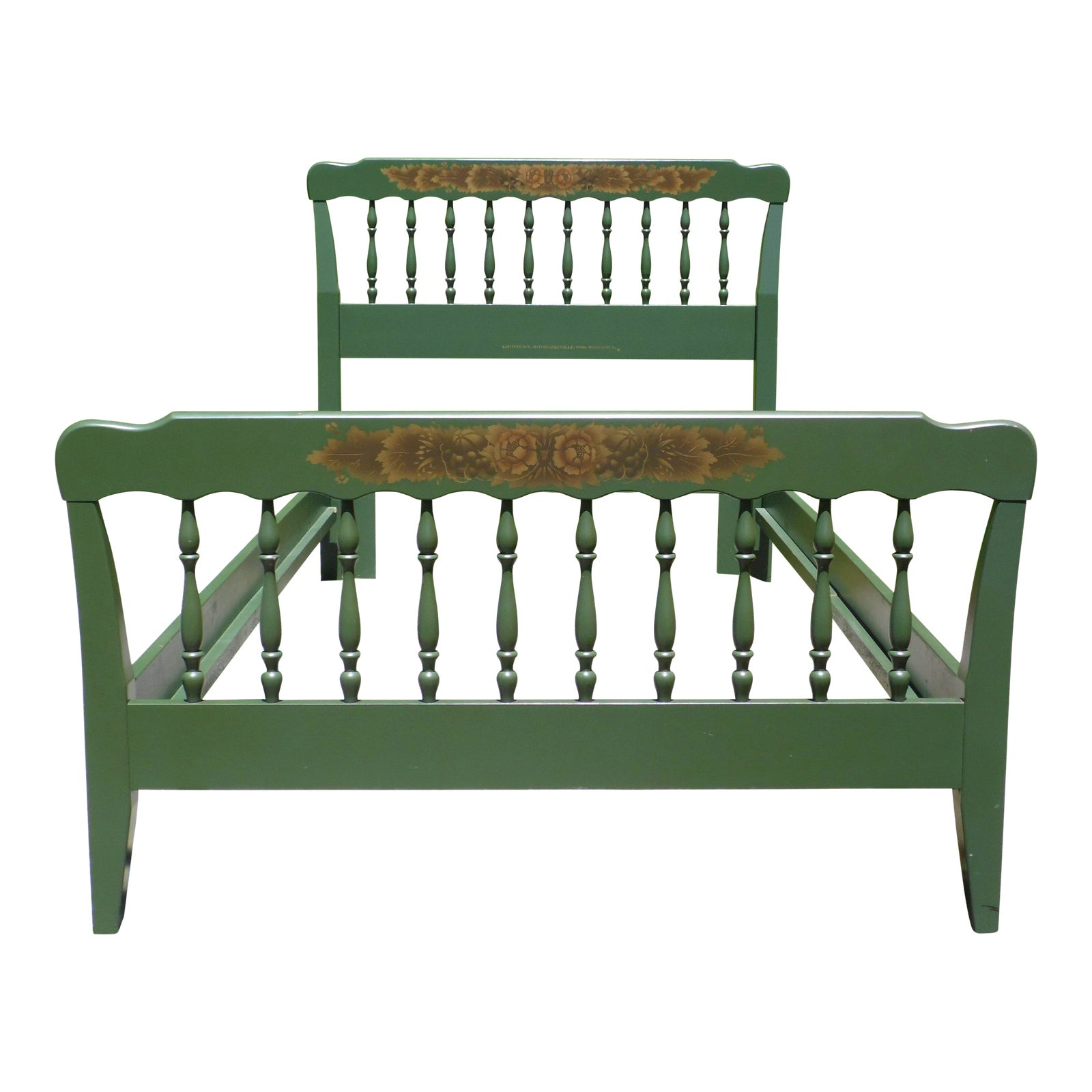 Prime Vintage Green Hitchcock Colonial Autumn Harvest Stenciled Twin Bed Frame Ocoug Best Dining Table And Chair Ideas Images Ocougorg