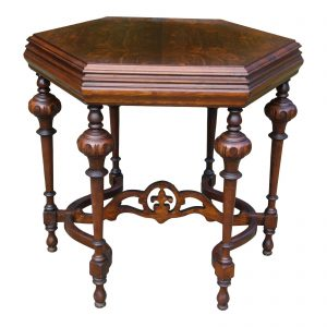 Vintage Jacobean Spanish Revival Hexagon Burled Walnut Entry Center Table