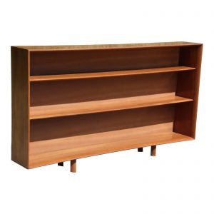 Vintage Large Mid Century Modern Solid Cherry Bookcase Open Shelving Bookshelf