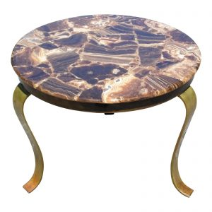 Vintage Mid Century Modern Muller's of Mexico Brass & Onyx Round End Side Table