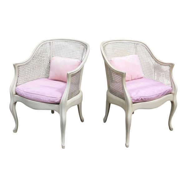 Vintage Pair French Provincial Caned Bergere Chairs