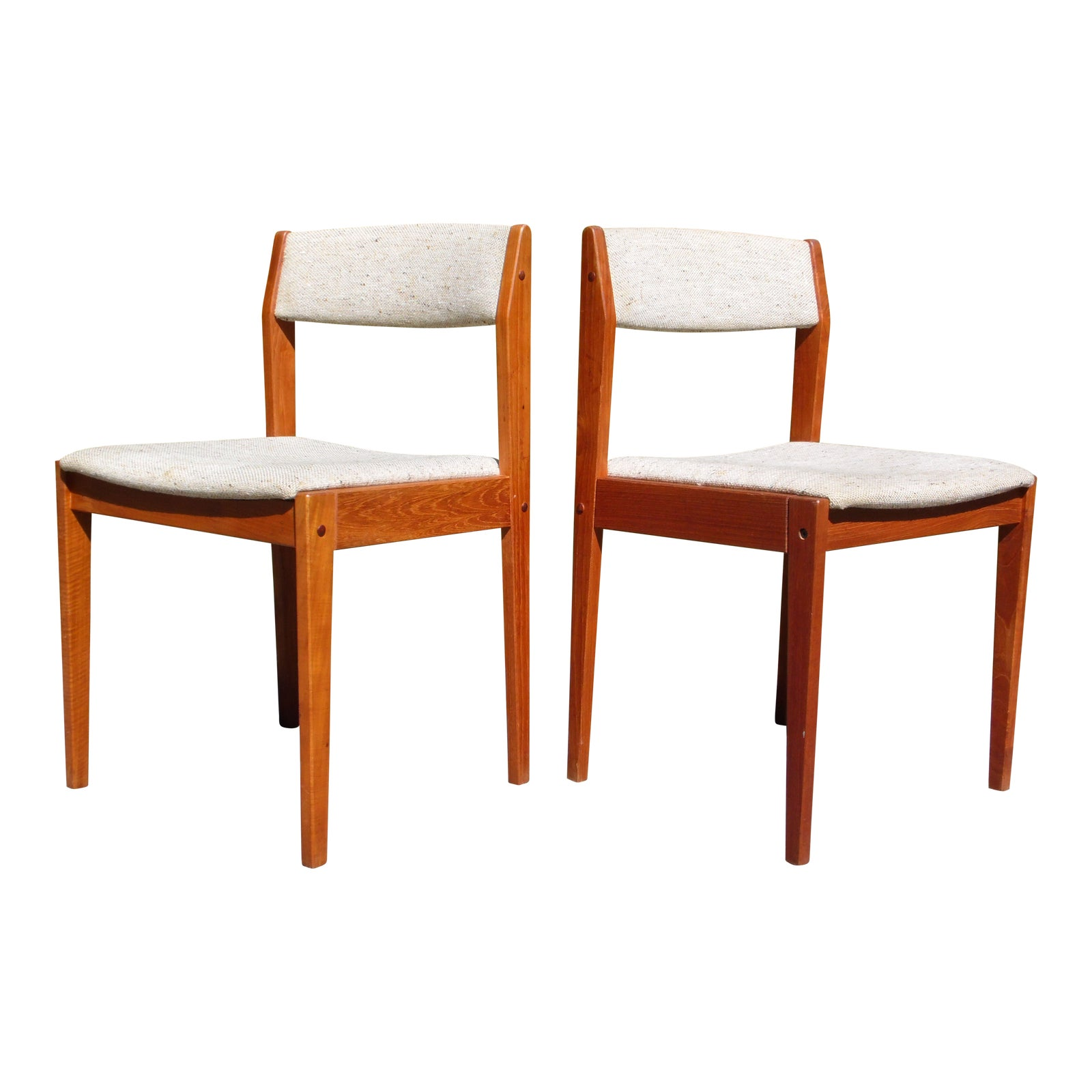 Excellent Vintage Pair Danish Modern Teak Dining Chairs Tarm Stole Denmark Bralicious Painted Fabric Chair Ideas Braliciousco