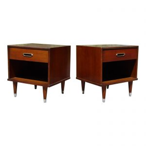 Vintage Pair Mid Century Modern Joerns Furniture Walnut Nightstands End Tables