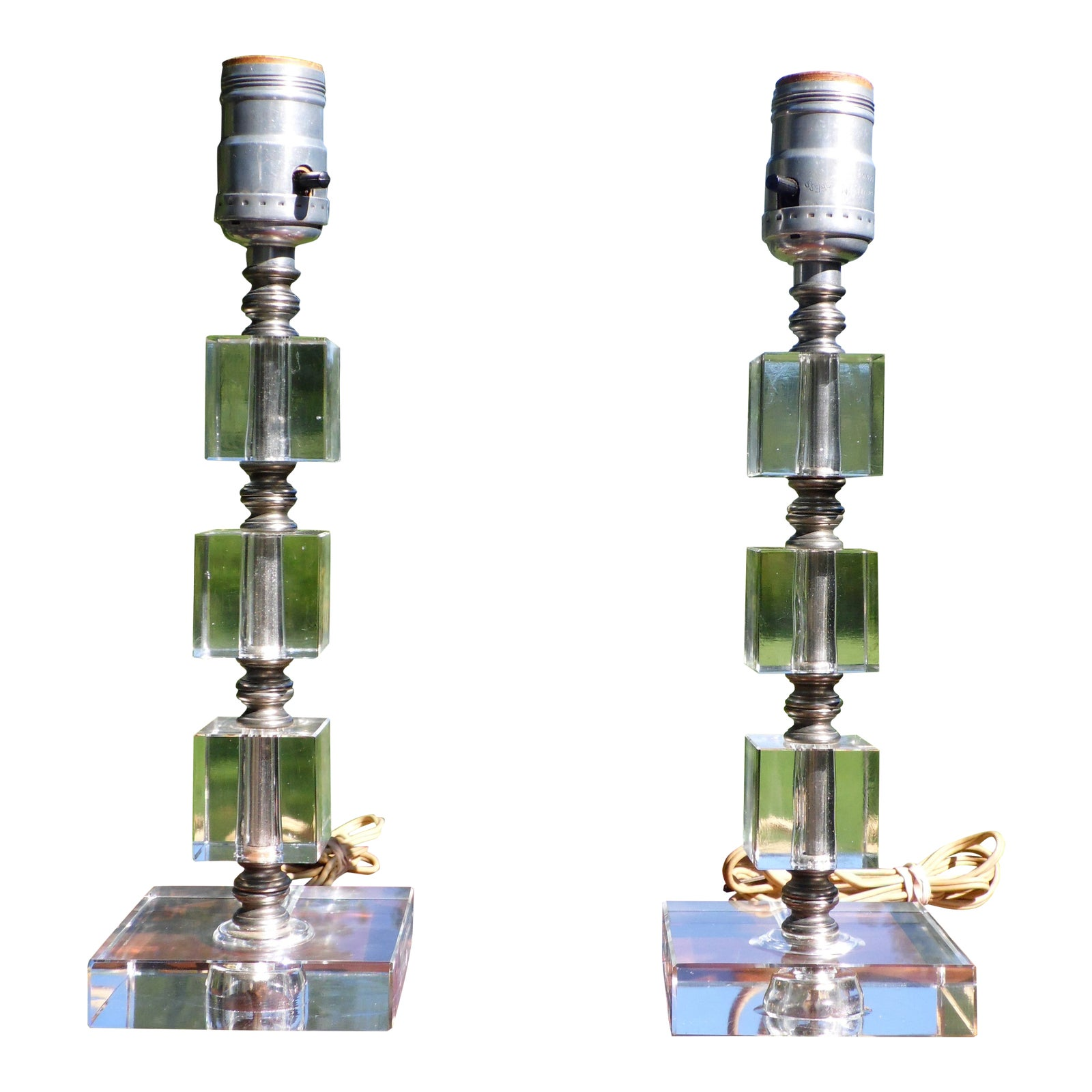 Vintage Pair Mid Century Modern Stacked Lucite Table Lamps ...