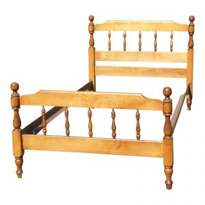 Vintage Watkins Furniture Solid Maple Twin Size Cannonball Bed Frame