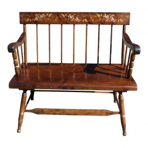 Vintage Spindle Back Harvest Stenciled Solid Pine Farmhouse Bench Settee