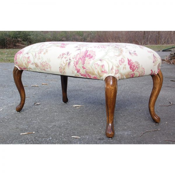 Vintage Upholstered Queen Anne Vanity Bench Stool Window Seat