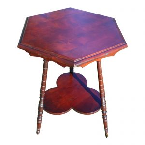 Vintage Solid Cherry Wood Tripod Hexagon 2 Tier Plant Stand Accent Table