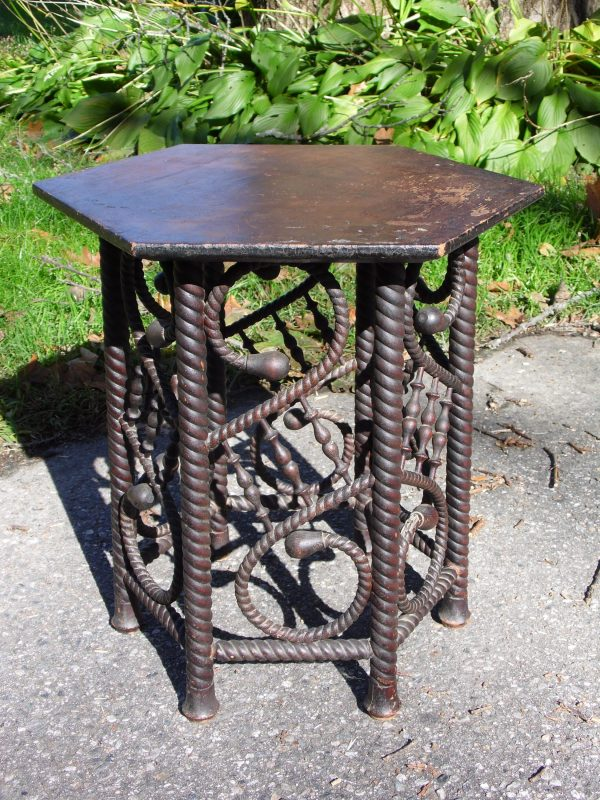 Antique Arts & Crafts Barley Twist Stick & Ball Hexagon Taboret Table Plant Stand