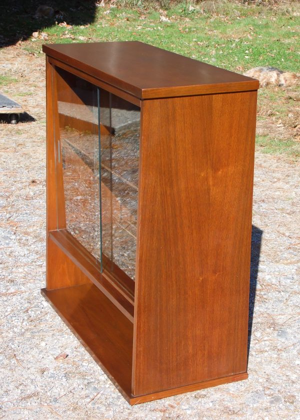 Vintage Mid Century Modern Walnut Jr. Hutch Small Glass Display Cabinet Bookcase