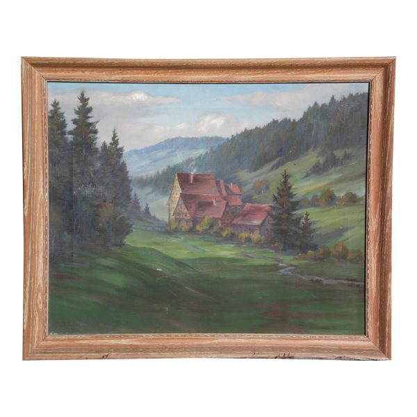 Vintage Framed Oil on Canvas Painting European Landscape Signed