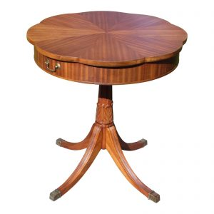 Vintage Mersman Ribbon Mahogany Scalloped Guéridon Pedestal Drum Table