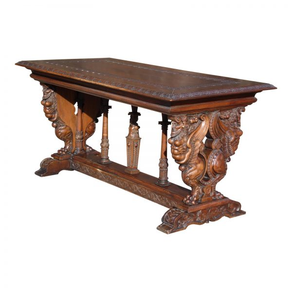 19th Century Italian Renaissance Style Carved Walnut Refectory Hall Table