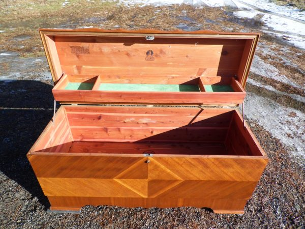 Antique Lane Art Deco Waterfall Cedar Hope Chest Trunk Blanket Chest