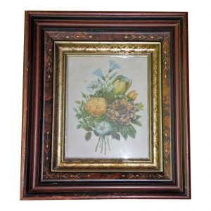 Antique Victorian Eastlake Deep Well Walnut & Gilt Picture Frame Botanical Print