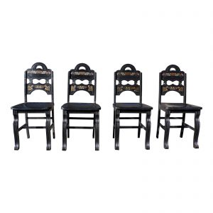 Vintage Set of 4 Art Deco Amish Folk Art Style Dining Chairs