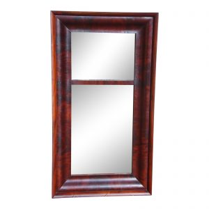 Antique 19th C. American Empire Flame Mahogany Framed Ogee Wall Mirror