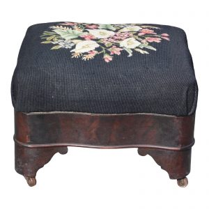 Antique 19th C Empire Mahogany Serpentine Stool Needlepoint Footstool Ottoman