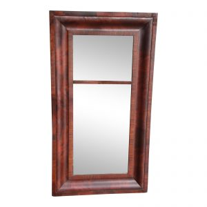 Antique American Empire Flame Mahogany Ogee Frame Mirror