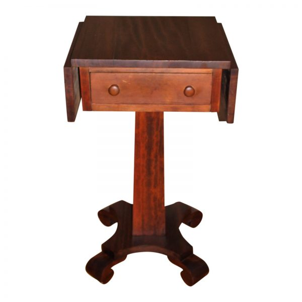 Antique Empire Solid Mahogany Drop Leaf Work Table