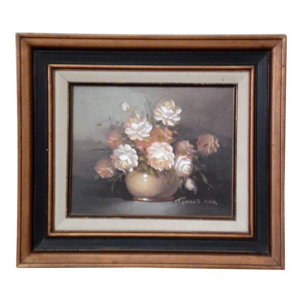 Vintage Framed Floral Still Life Oil on Board Painting Robert Cox