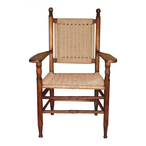 Vintage Solid Wood Rope Chair Armchair