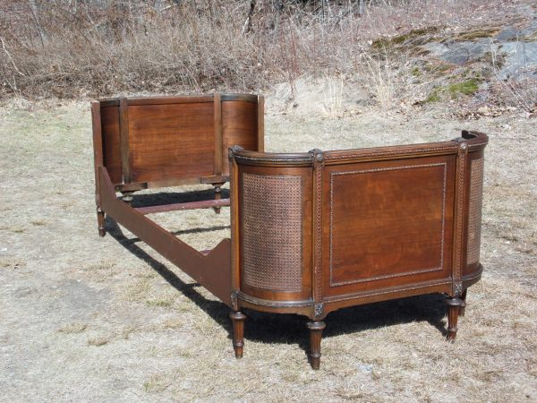 Vintage Art Deco Caned Mahogany Curved Daybed Day Bed Frame
