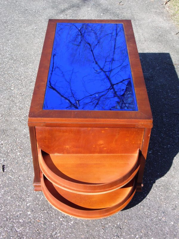 Vintage Art Deco Cobalt Blue Mirror Glass Cocktail Coffee Table