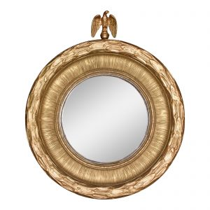 Antique 19th Century American Federal Gold Gilt Eagle Bullseye Convex Mirror