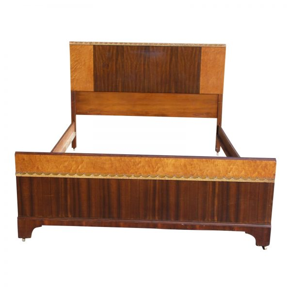 Vintage Art Deco Walnut Full Double Bed