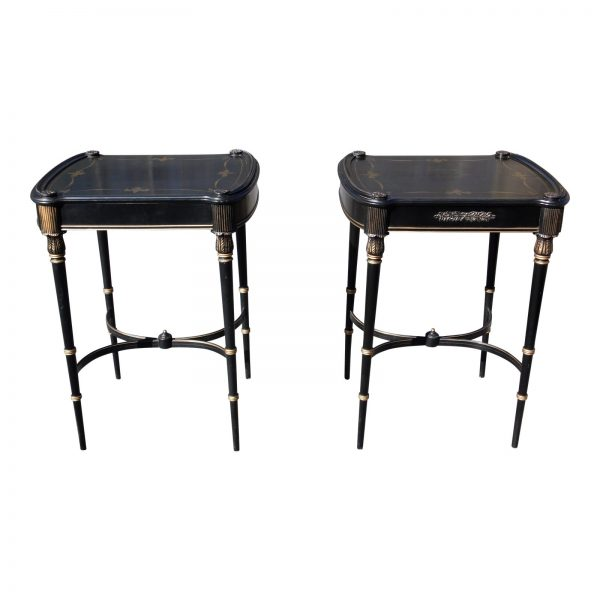 Vintage Pair French Louis XVI Style Ebonized Black & Gold End Tables Nightstands