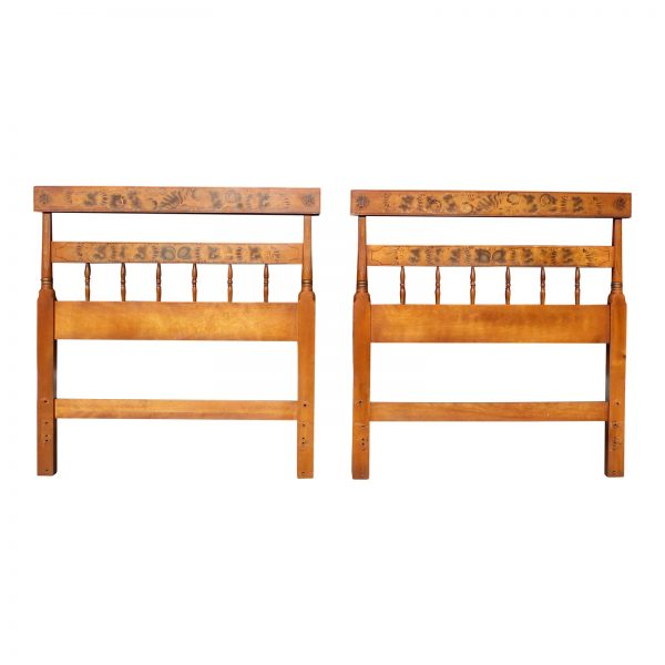 Vintage Pair Hitchcock Stenciled Maple Twin Bed Headboards