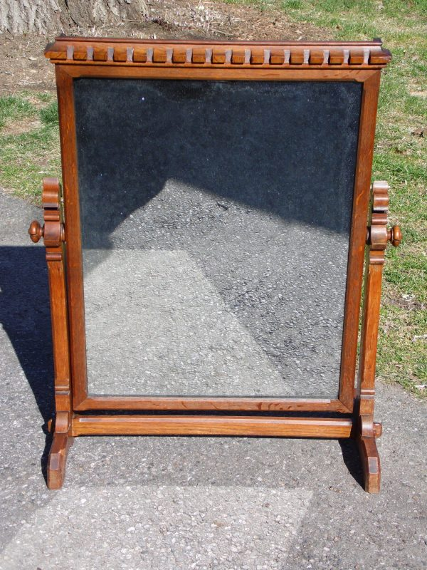 Antique Oak Wood Frame Free Standing Swivel Cheval Mirror on Stand