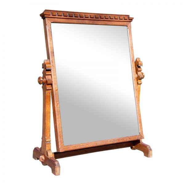 Antique Oak Wood Frame Free Standing Swivel Cheval Mirror Stand