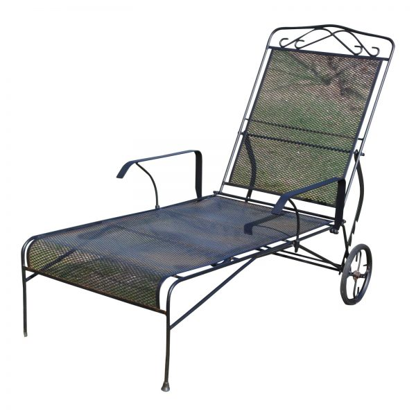 Vintage Rolling Adjustable Reclining Mesh Wrought Iron Chaise Lounge Chair