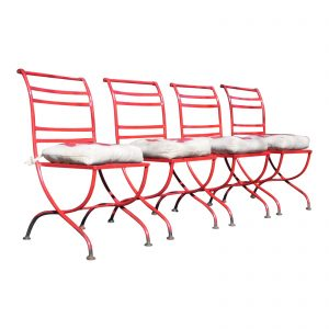 Vintage Set 4 Mid Century Modern Patio Chairs Red Outdoor Metal Furniture