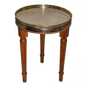 Vintage French Provincial Round Marble Top Tripod Side Table