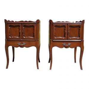 Pair Vintage French Provincial Style Walnut End Tables Nightstands